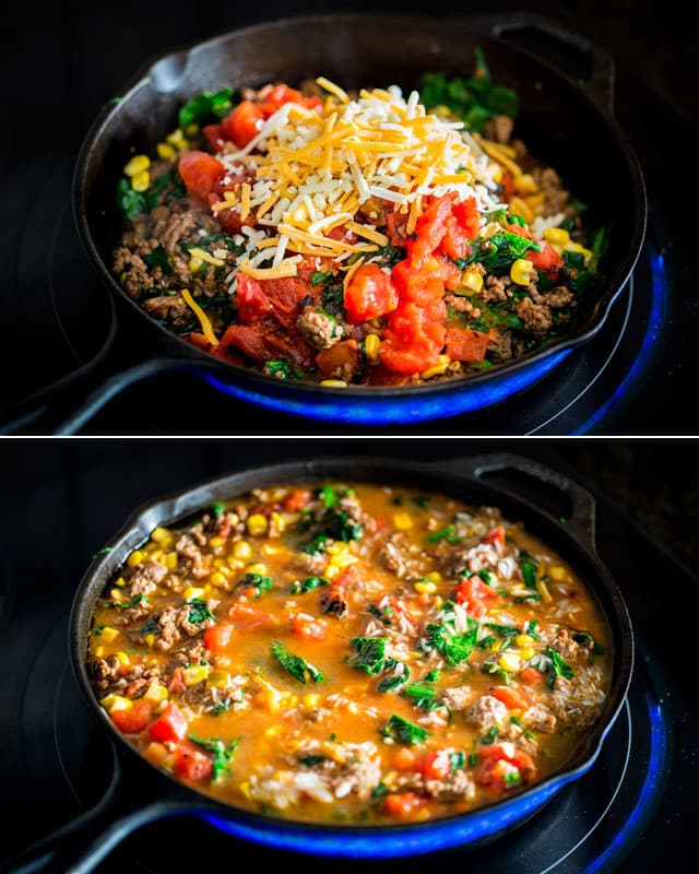 process of making Mexican Beef and Rice Casserole