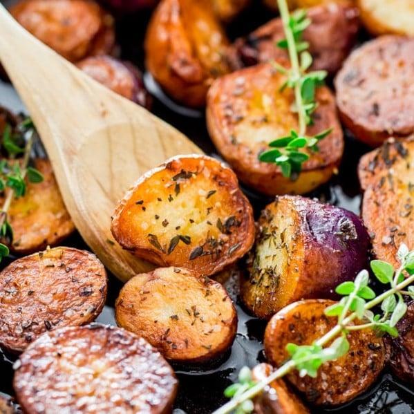 close up shot of thyme skillet potatoes