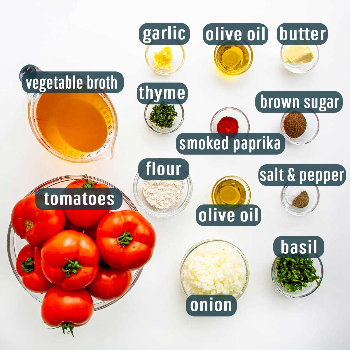 overhead shot of all ingredients needed to make roasted tomato soup.