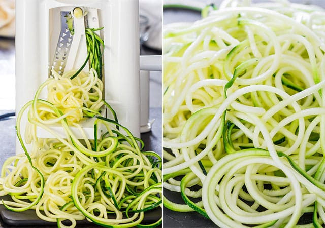 slicing zucchini for Pad Thai Zoodles