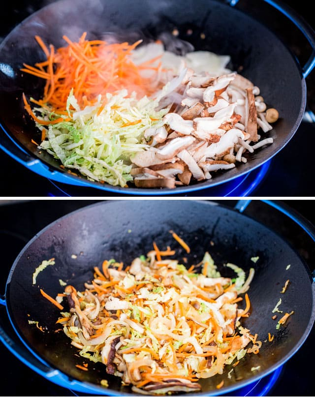 process shots for making chicken lo mein
