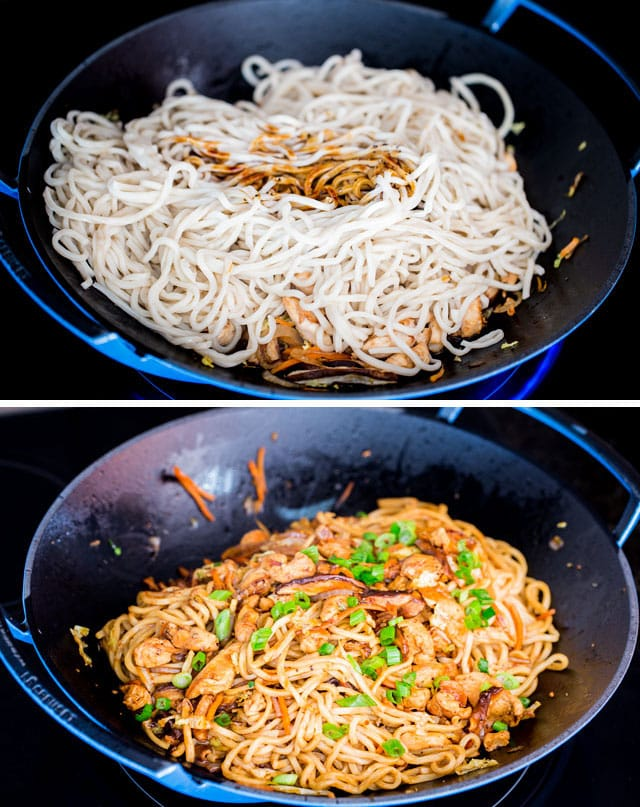 process shots of noodles in chicken lo mein