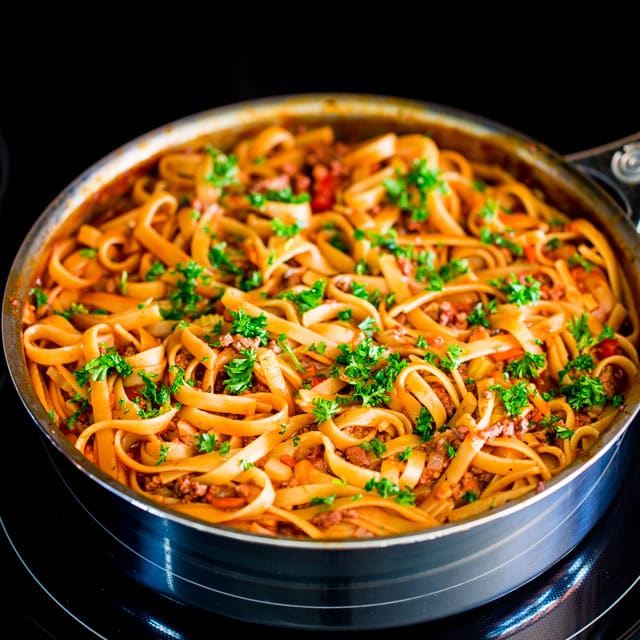 a pan filled with Fettuccine with Beef Ragu