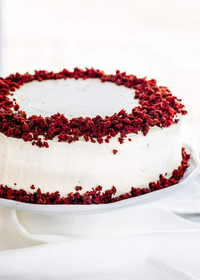 Red Velvet Cake on a white cake platter