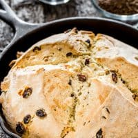 freshly baked irish soda bread in a skillet