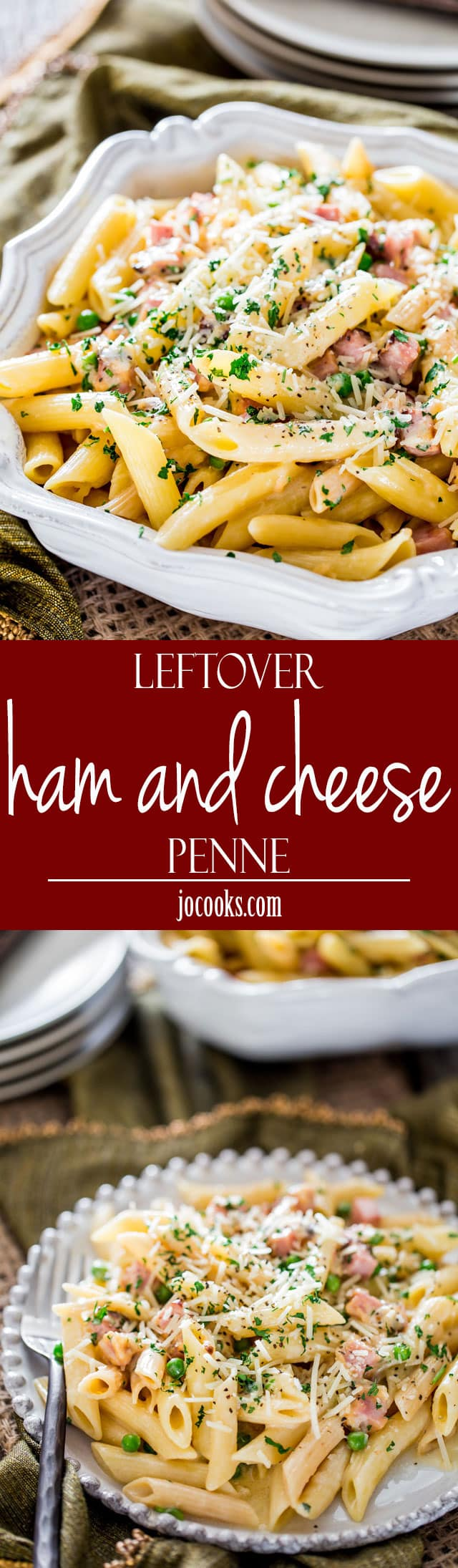Leftover Ham and Cheese Penne - incredibly creamy and cheesy penne loaded with ham and peas, perfect use of that leftover ham from your holiday dinner. www.jocooks.com #cheesypenne