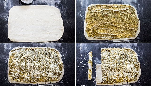 process of making parmesan pesto twists