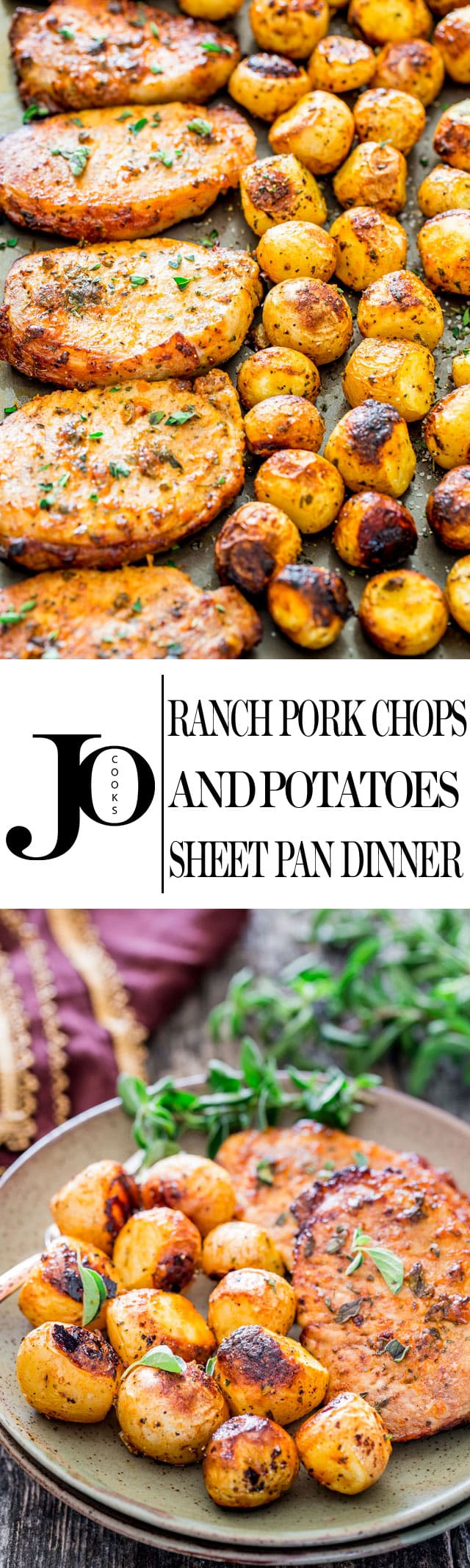 Ranch Pork Chops and Potatoes Sheet Pan Dinner - get out your sheet pan to make this delicious and easy dinner with ranch pork chops and potatoes! #ranchporkchops