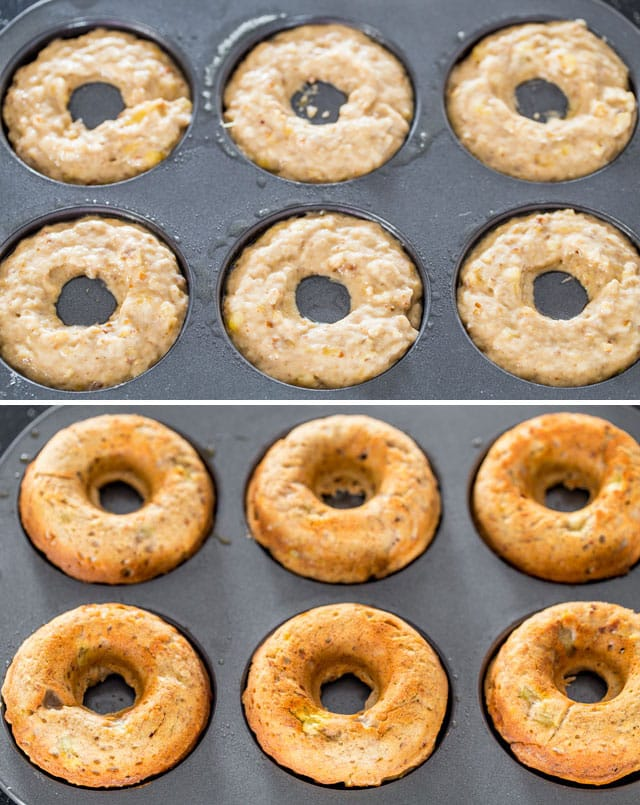 Porky Monkey Donuts in a donut pan before and after baking