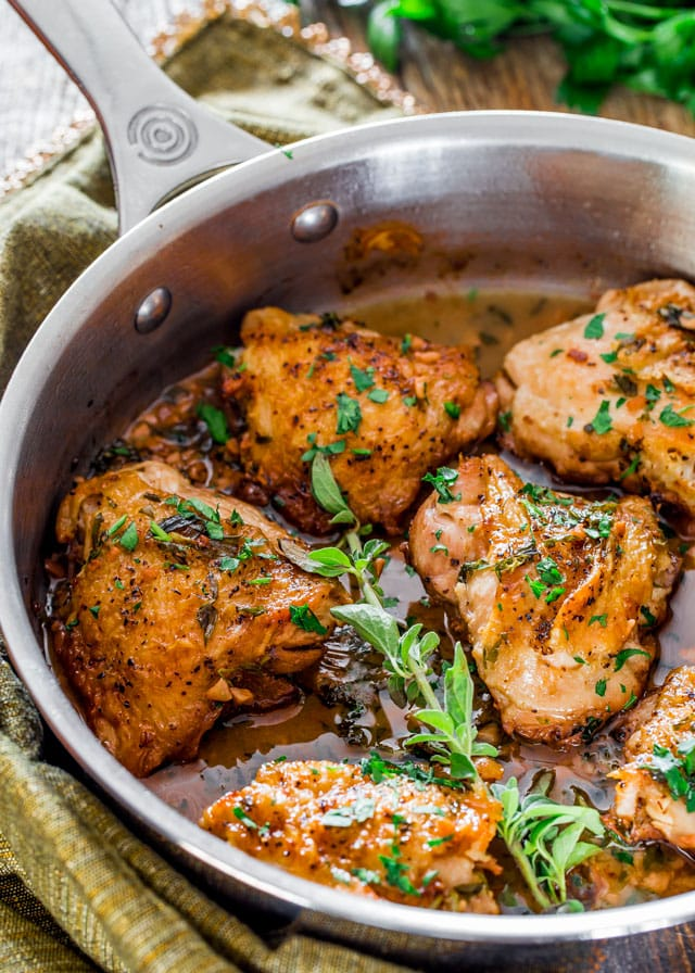 Chicken in Garlic and Herb Sauce in a skillet