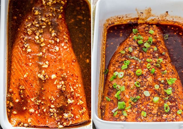overhead of firecracker baked salmon before and after baking in the oven