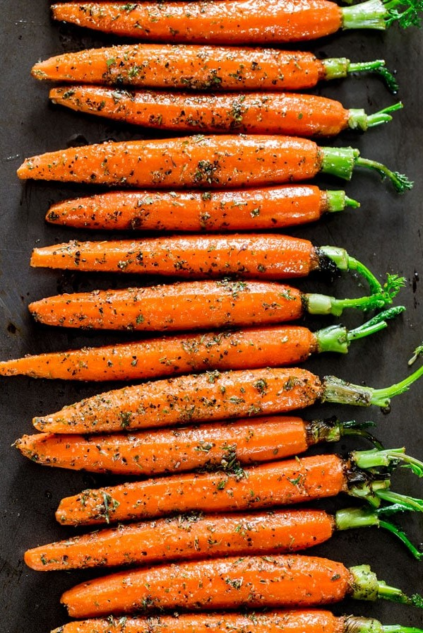 overhead shot of garlic herb roasted carrots