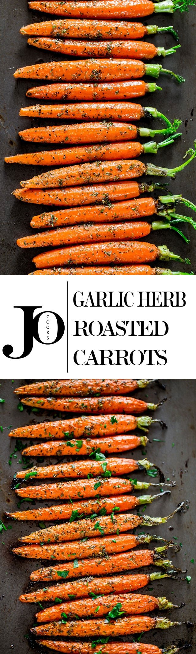 Garlic and Herb Roasted Carrots - these carrots are roasted to perfection with lots of garlic and herbs such as thyme, basil and oregano, creating the perfect side dish. www.jocooks.com #roastedcarrots
