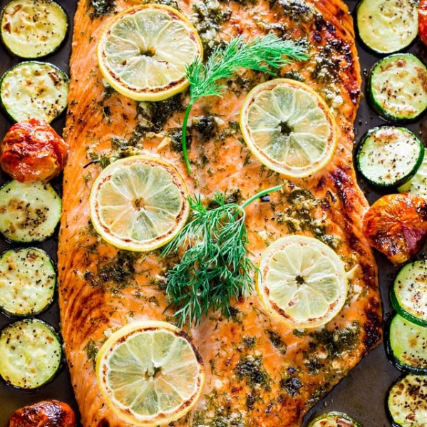 overhead shot of honey garlic salmon and veggie sheet pan dinner