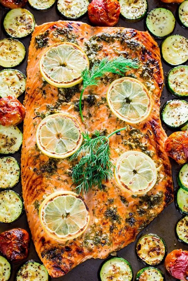 overhead shot of honey garlic salmon and veggie sheet pan dinner