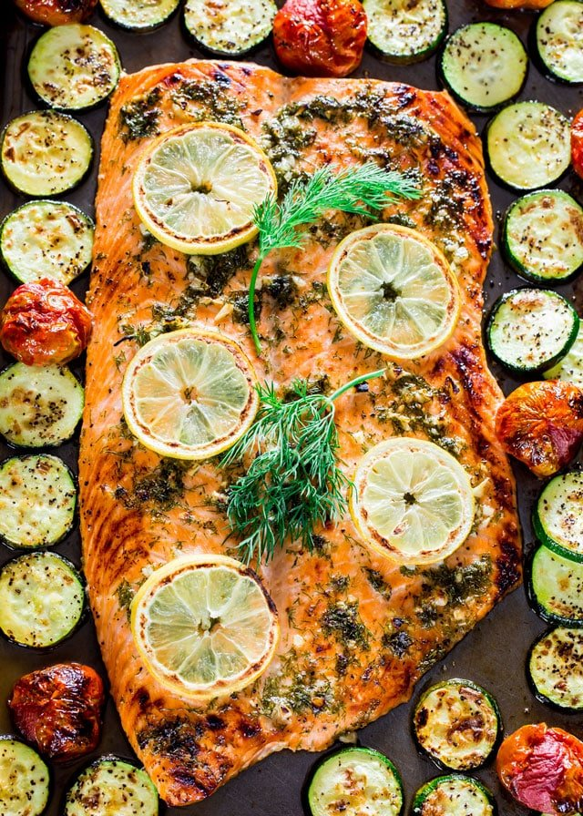 overhead of honey garlic Salmon and Veggies Sheet Pan Dinner with zucchini and tomatoes