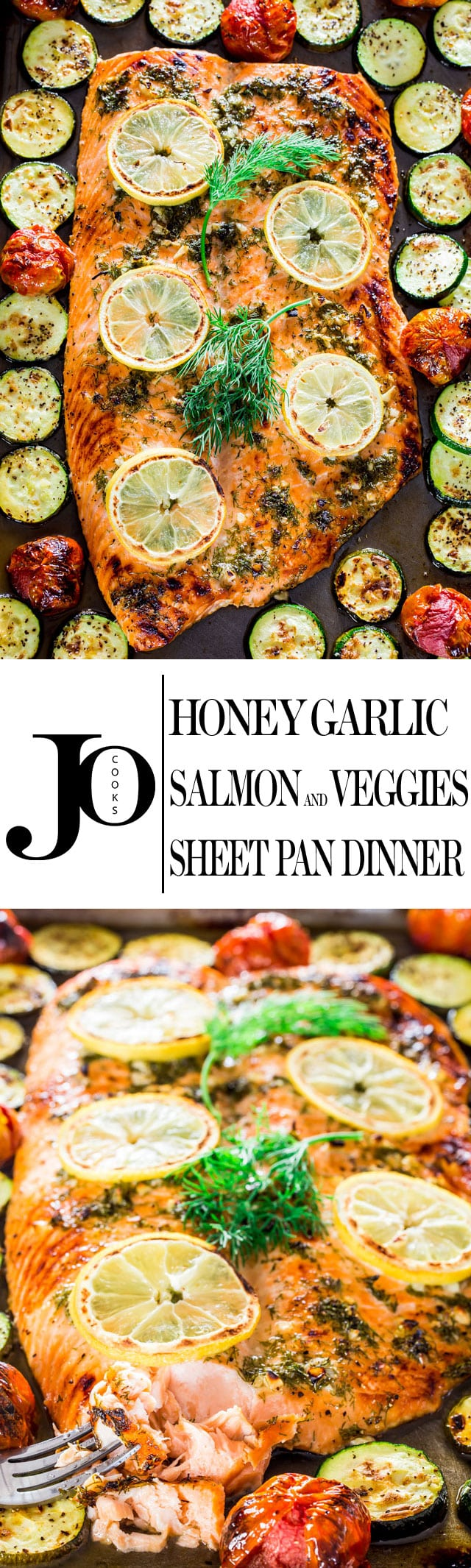 This Honey Garlic Salmon and Veggies Sheet Pan Dinner is about as easy as it gets to get dinner on the table in 30 minutes and the cleanup is a cinche! www.jocooks.com #sheetpandinner
