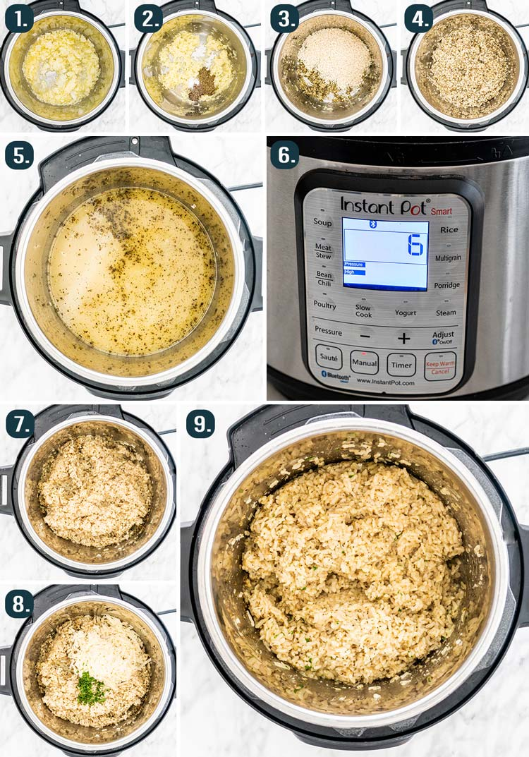 process shots showing how to make risotto in the instant pot