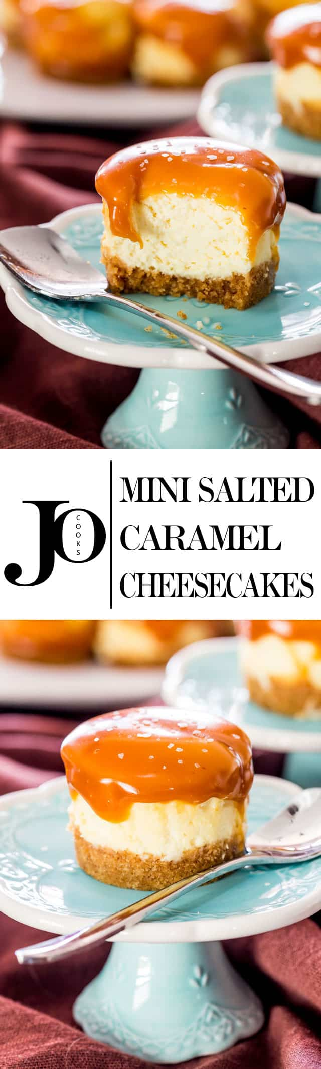 Mini Salted Caramel Cheesecakes - creamy bite-sized cheesecakes with a graham cracker crust and topped with a delicious salted caramel. www.jocooks.com #minicheesecakes