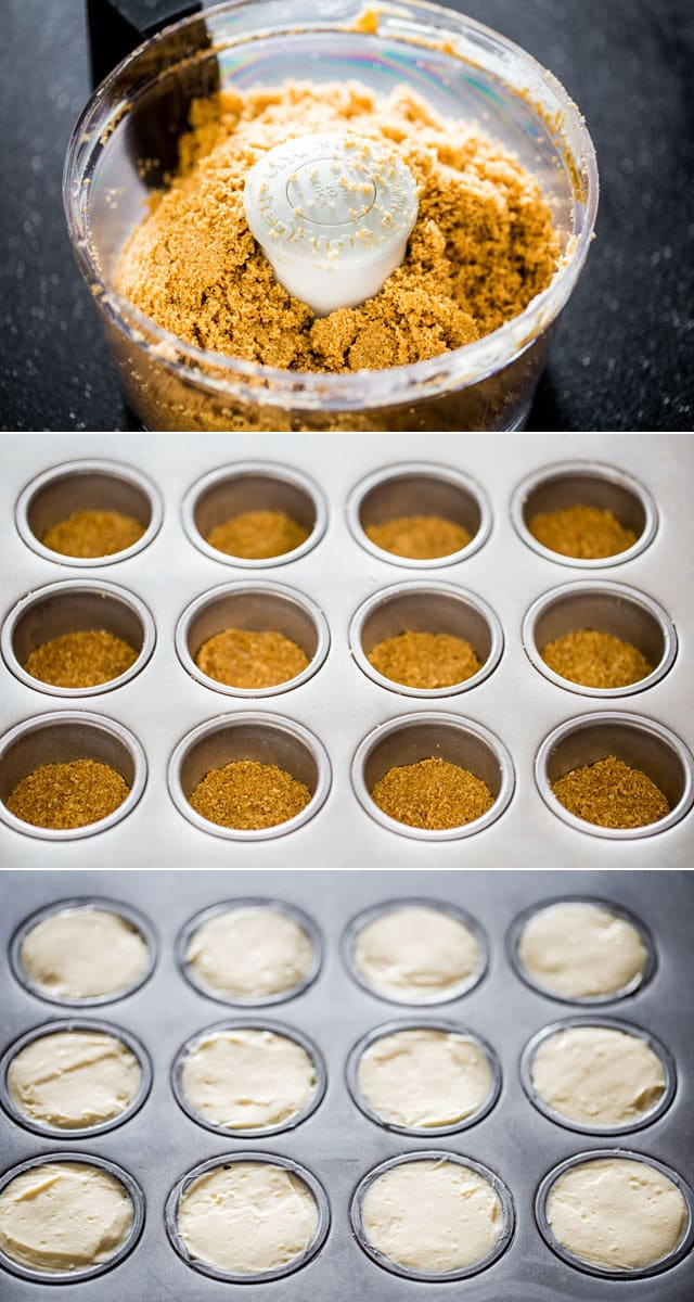 process of filing the baking tray for Mini Salted Caramel Cheesecakes