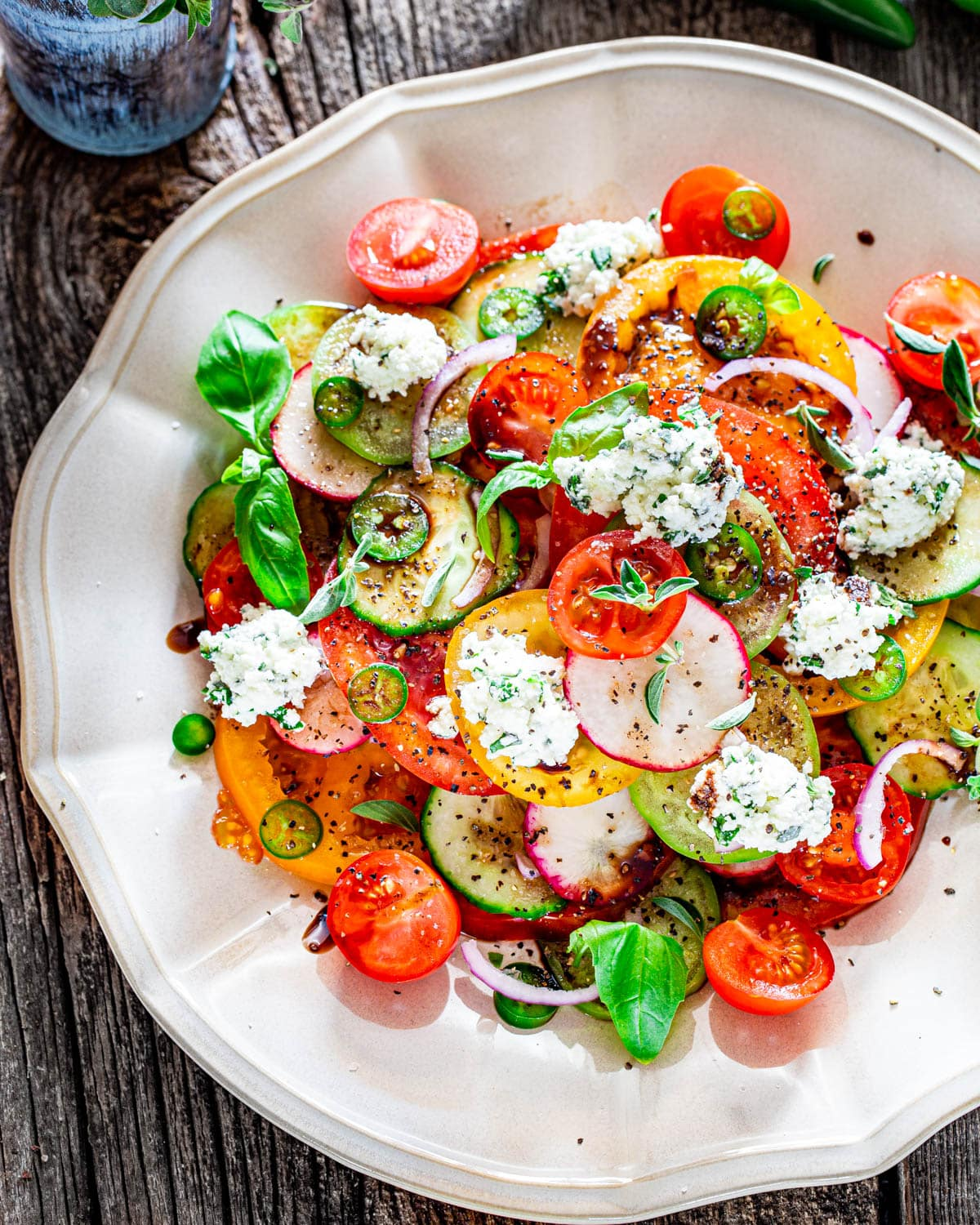 overhead shot of summer salad with herbed ricotta