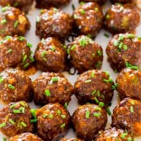 overhead shot of sweet and spicy korean meatballs