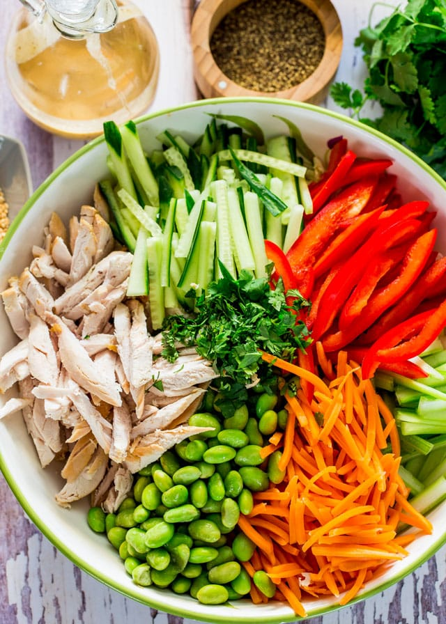 a bowl of Chopped Chicken Salad with julienne cucumber, bell pepper, edamame, carrots, and celery