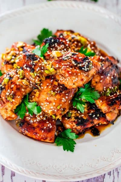 Grilled Harissa Sesame Chicken Thighs