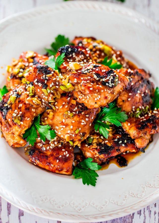 Grilled Harissa Sesame Chicken Thighs Jo Cooks