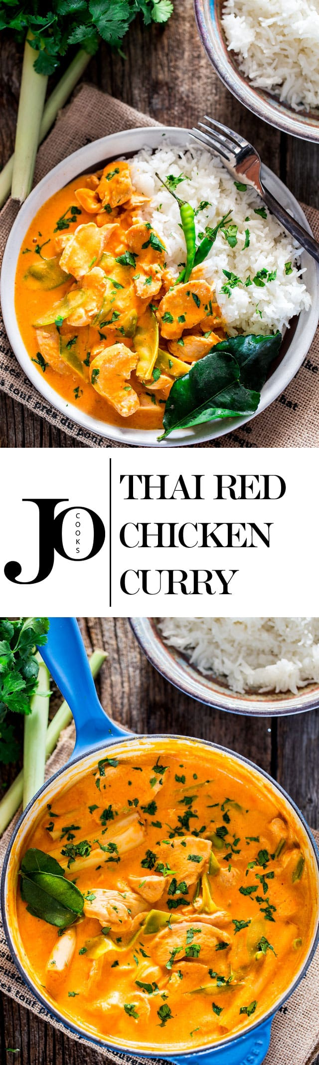 This Thai Red Chicken Curry is incredibly delicious, so easy to make with bite size chicken pieces, snow peas and simmered in a red curry and coconut milk sauce. Thai cooking in under 30 minutes and all in one pot! #thai #chickencurry