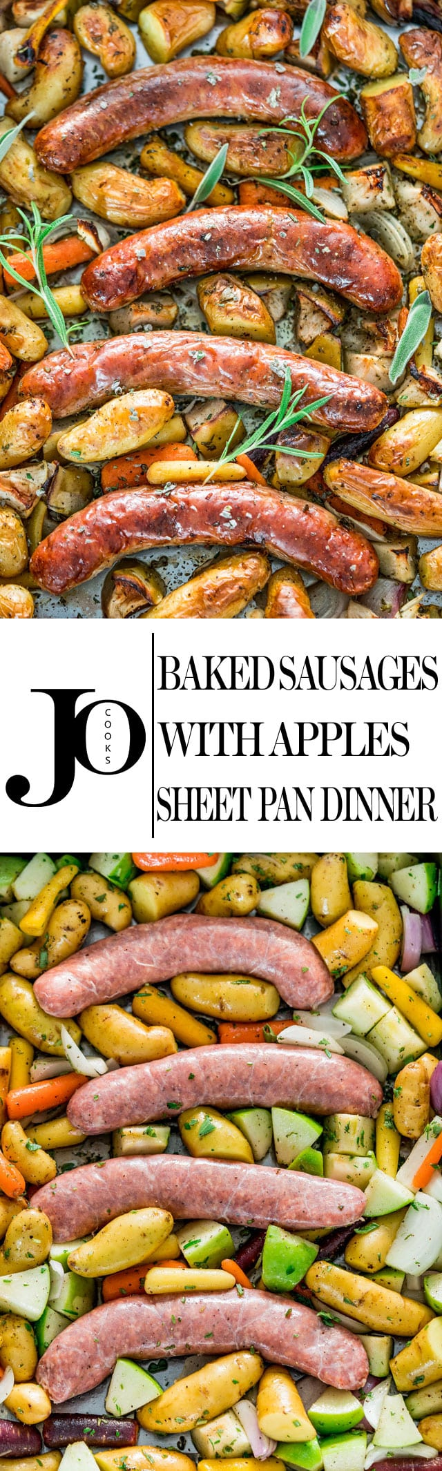 Baked Sausages with Apples Sheet Pan Dinner - these pork sausages are perfectly baked together with apples, fingerling potatoes, baby carrots and lots of fresh herbs, all in one pan making it super easy for cleanup. www.jocooks.com #sheetpandinner