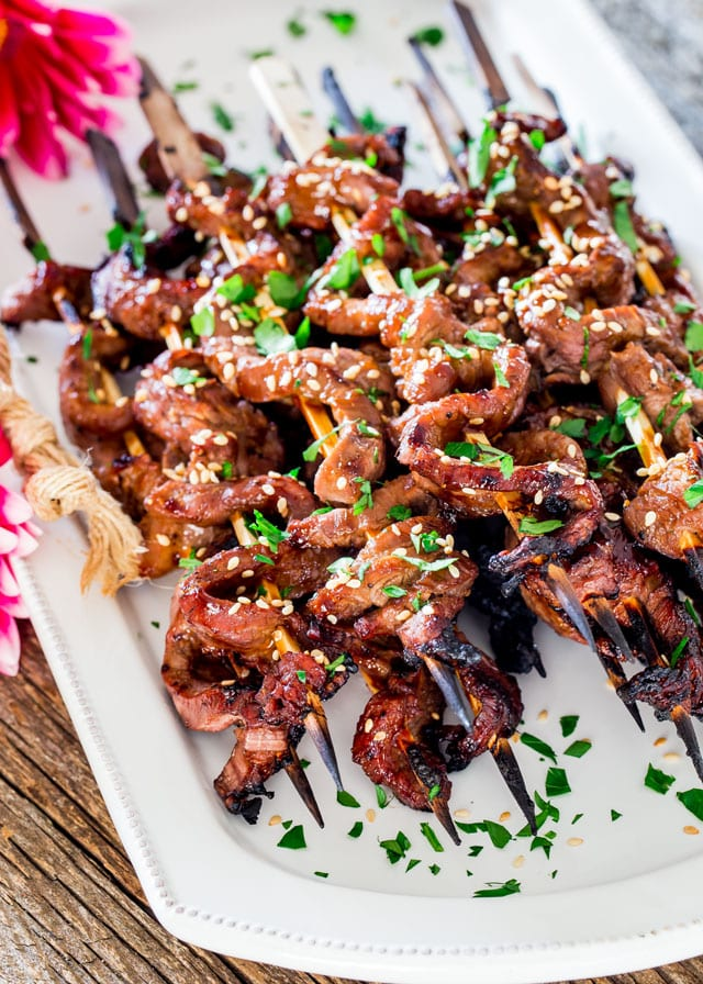 Beef Teriyaki Skewers piled on a platter