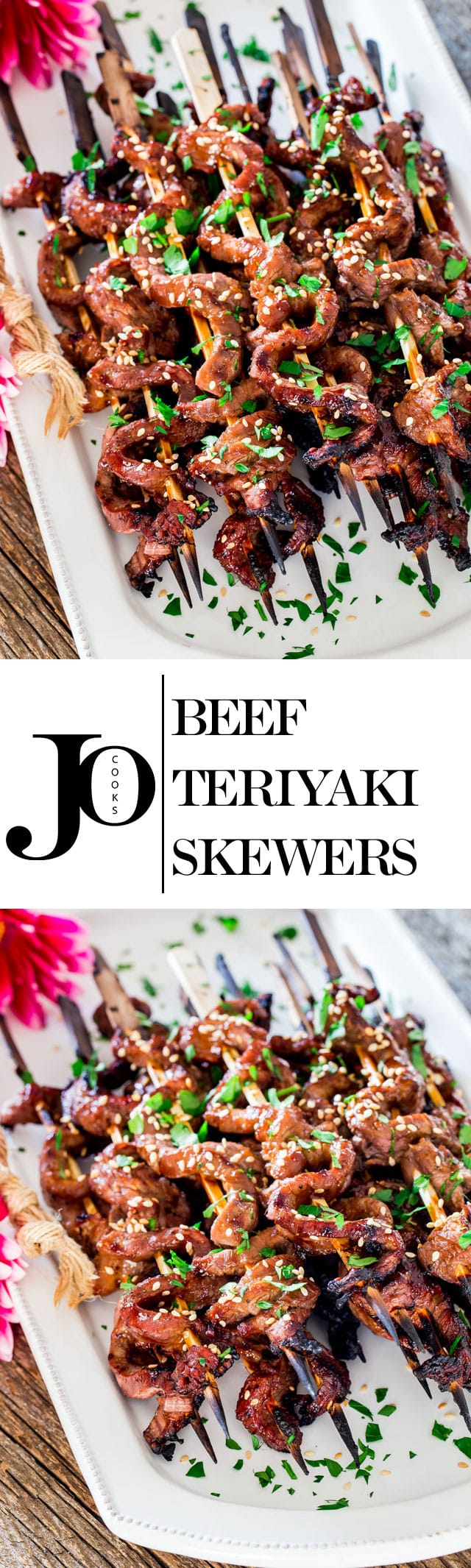 When these Beef Teriyaki Skewers are sizzling on your grill, the aroma will make everyone around you stop what they're doing and come for a taste of these easy to make flank steak skewers with homemade teriyaki sauce. www.jocooks.com #teriyakiskewers
