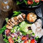 overhead shot of a mediterranean grilled chicken salad