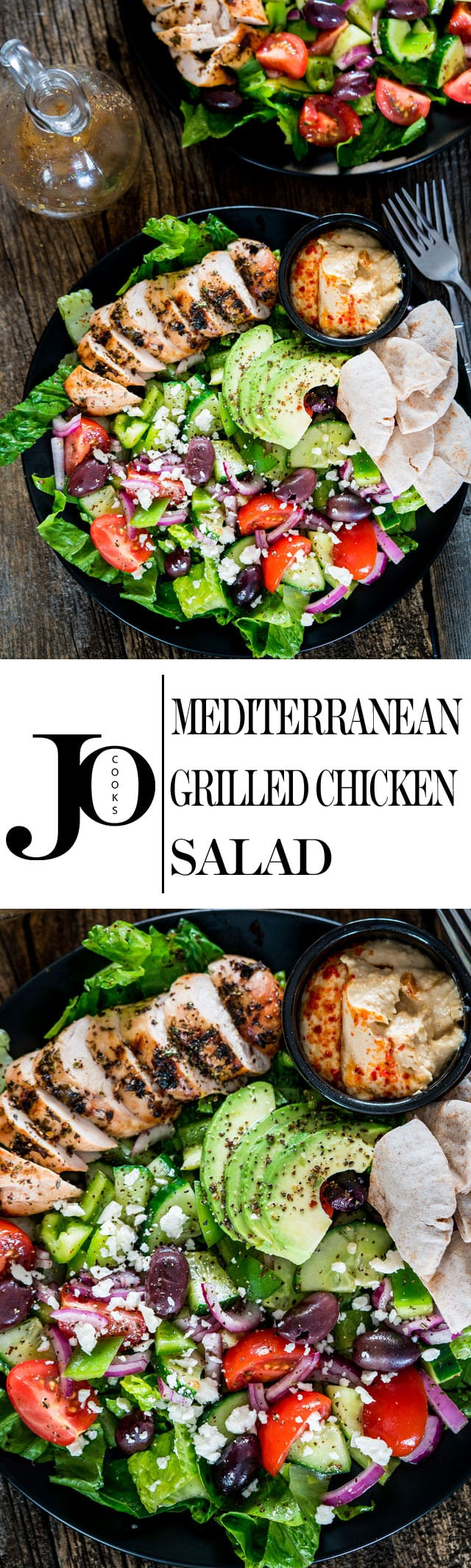 Mediterranean Grilled Chicken Salad - the perfect summer salad full of Mediterranean flavors! Marinated Greek chicken with an extremely delicious salad! www.jocooks.com #mediterraneansalad