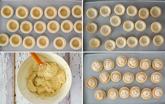 Process shots showing how to make Peanut Butter Mini Tarts with Rolos