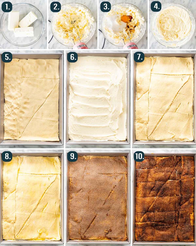 detailed process shots showing how to make sopapilla cheesecake