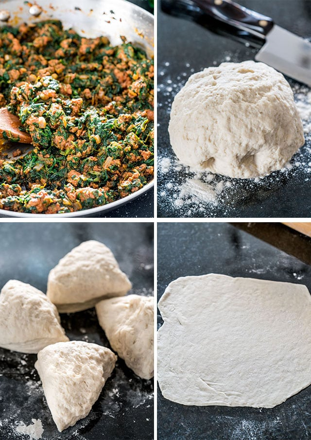 process of making Turkish Gozleme with Lamb