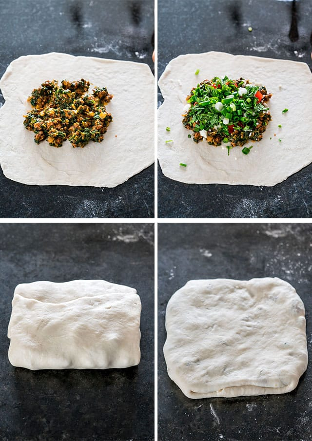 process of folding Turkish Gozleme with Lamb in dough