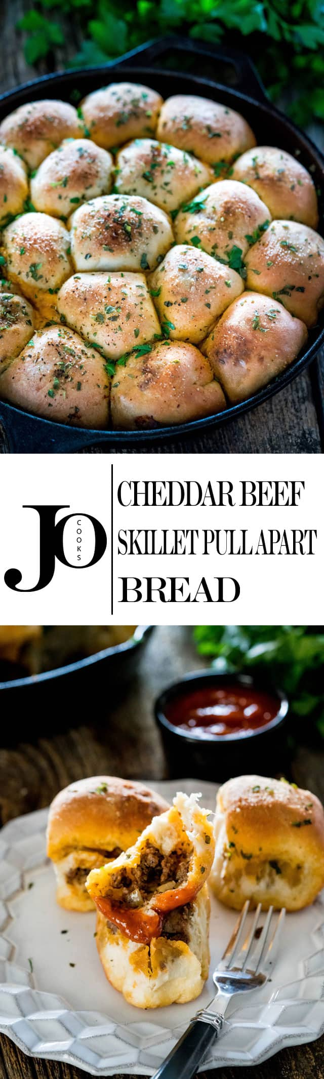 Cheddar Beef Skillet Pull Apart Bread - perfect for a snack, appetizer or school lunch! These rolls are filled with a tasty beef and mushroom mixture and lots of cheddar cheese! Great crowd pleaser!