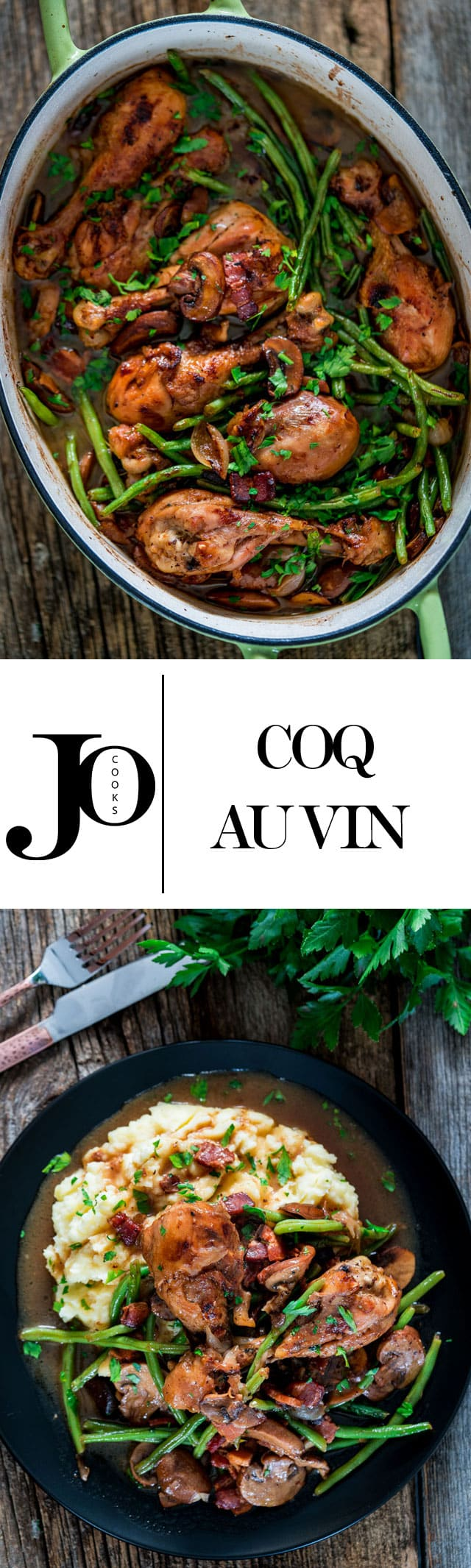 Coq Au Vin with Mashed Potatoes - This French dish is made with chicken braised in red wine with mushrooms, onions and green beans, lots of herbs, perfect for fall!