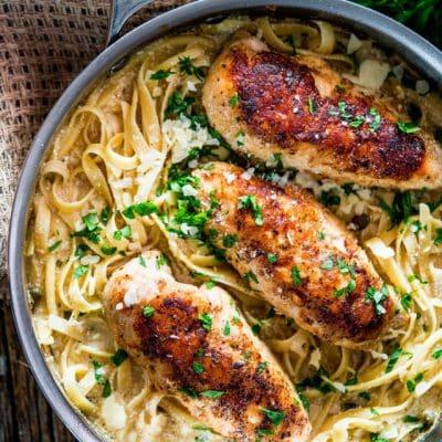Creamy Lemon Chicken Piccata Fettuccine