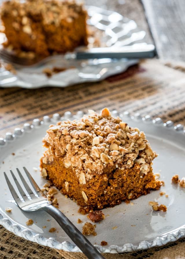 This Pumpkin Crumb Cake is deliciously moist and sweet with a perfect crunchy topping. Perfect to share with friends with a good cup of coffee.