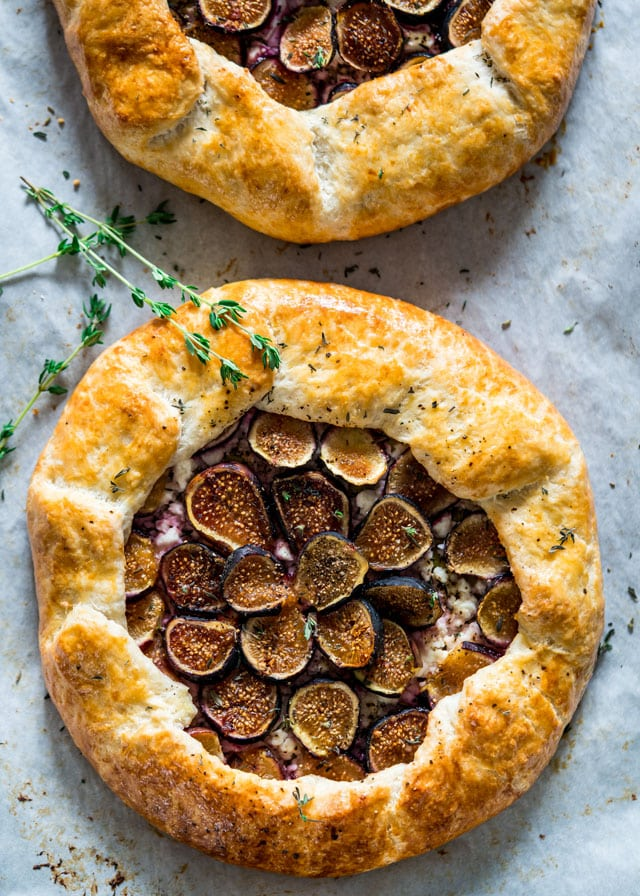 a galette filled with figs freshly baked out of the oven