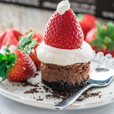 Chocolate Cheesecake Santa Hats