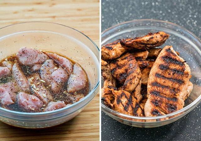 turkey breasts marinating in a glass bowl, then grilled