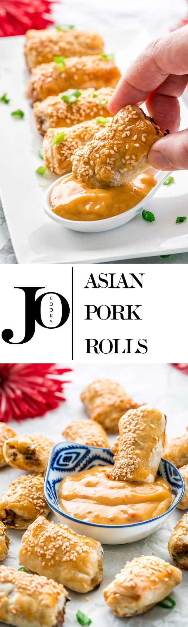 These Asian pork rolls are the perfect party treat or snack. This delicious ground pork and water chestnut mixture is wrapped in puff pastry, cut into little rolls, baked to perfection then served with a spicy honey mustard sauce, making them a quintessential comfort food.
