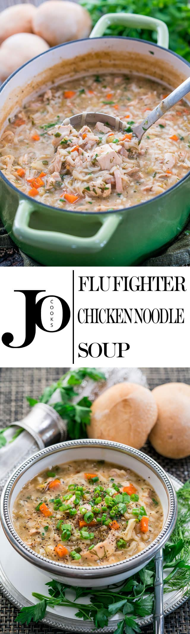This Flu Fighter Chicken Noodle Soup is loaded with good for you ingredients, it's cozy and the epitome of comfort food. Perfect for when you're feeling congested or experiencing flu-like symptoms. www.jocooks.com #chickensoup