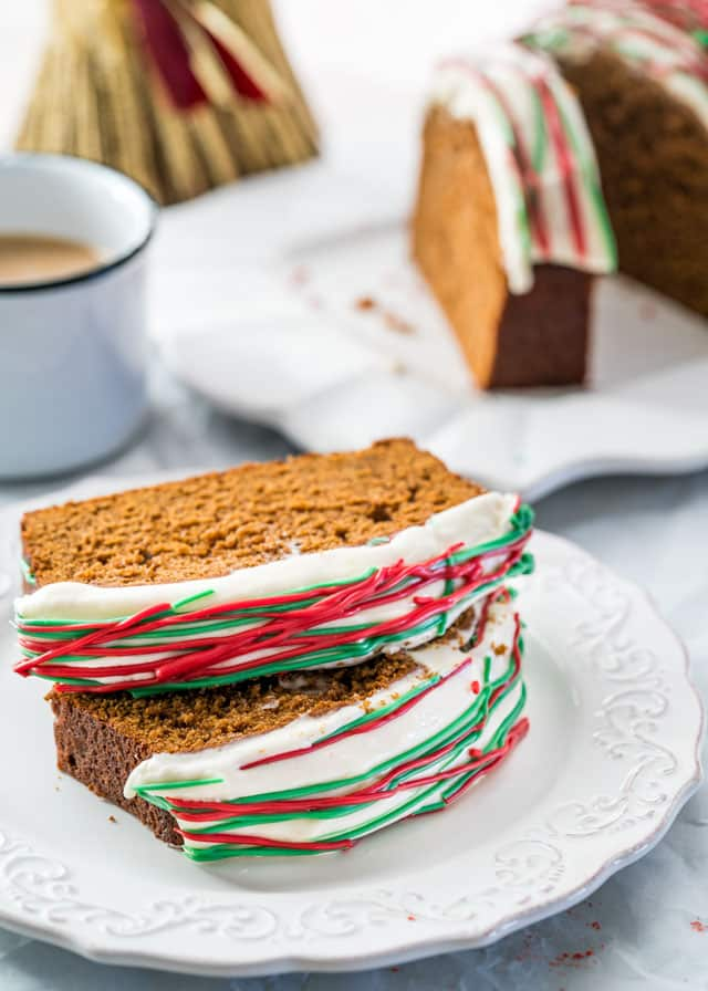 This Gingerbread Loaf is a spiced ginger loaf topped with cream cheese icing and makes a perfect treat for Christmas entertaining and gift giving.