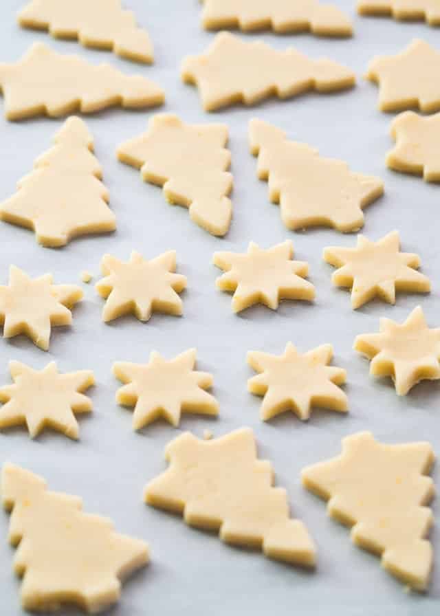shortbread cookies, freshly cut, ready to be baked in the oven.